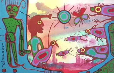 Acrylic by Norval Morrisseau Title Unknown