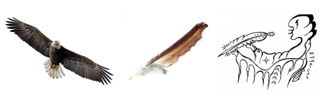 Migizi eagle feather offering banner