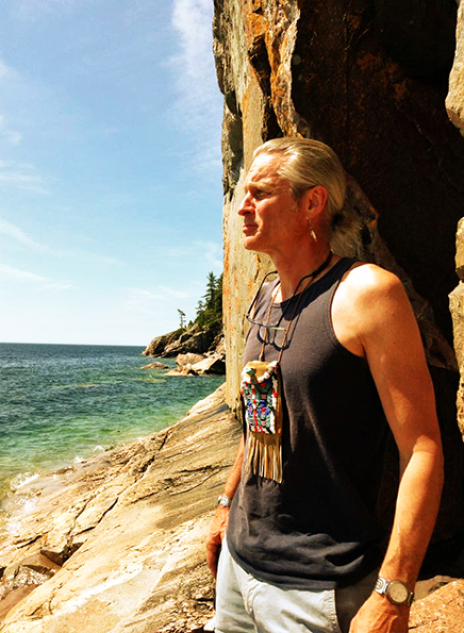 Profile picture of Second Generation Woodland artist Zhaawano Giizhik at Agawa Rock