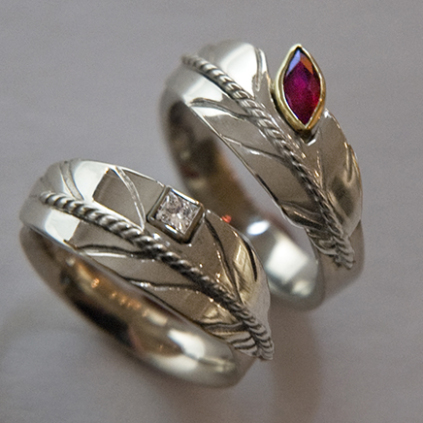 Eagle feather rings by Zhaawano Giizhik