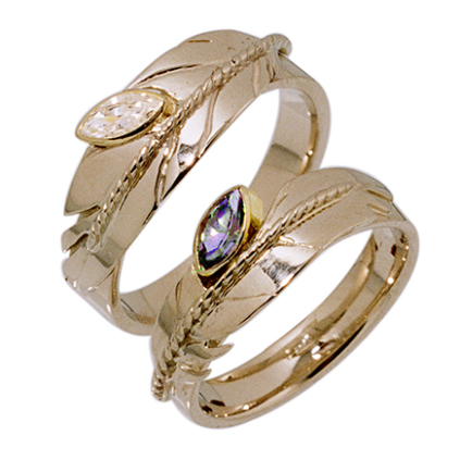 Native American eagle feather ring set Clarity Fills Our Hearts designed by Zhaawano