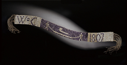 A friendship belt of miigis offered to an Ojibwe ogimaa
