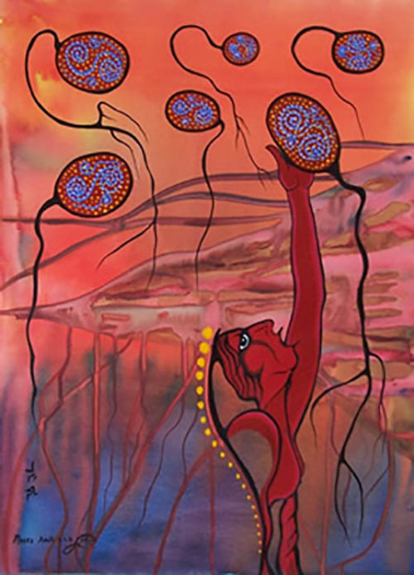 Reach For Your Dreams, acrylic on canvas by Moses Amik, 2006