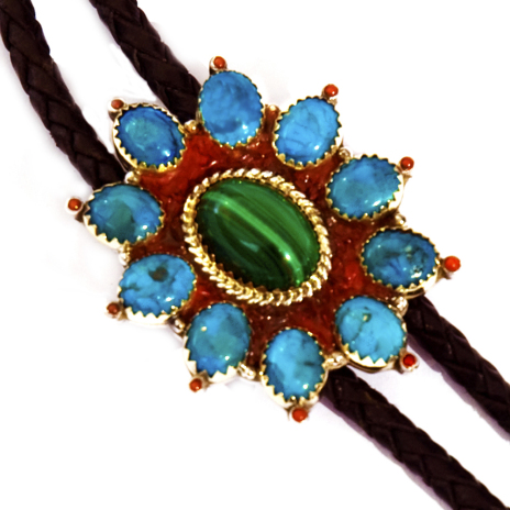 Nigaabii-anang close up of bolo tie slide by Zhaawano Giizhik