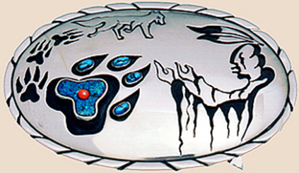 Wolf paw belt buckle Fisher Star Creations