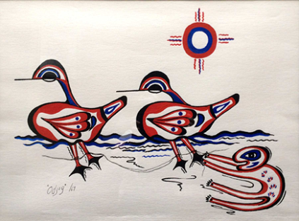 Nanabush and the Ducks acrylic by Daphne Odjig