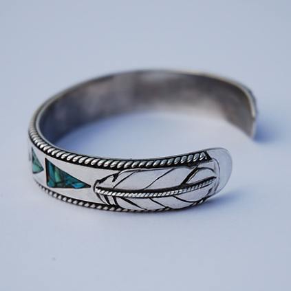 Sterling silver bracelet Wiinabozho's Bow designed by Zhaawano giizhik