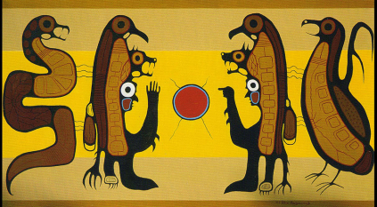 Allen Ahmoo Angeconeb Shamans Talking acrylic on canvas 1977