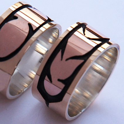 Hawk feather wedding bands